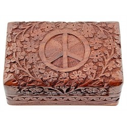 "PEACE SIGN CARVED WOODEN BOX - 4""X6"""